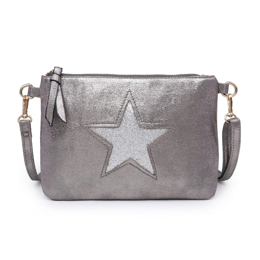 Pewter Grey Clutch Bag With Sequin Star