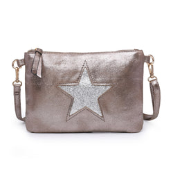 Bronze  Clutch Bag With Sequin Star
