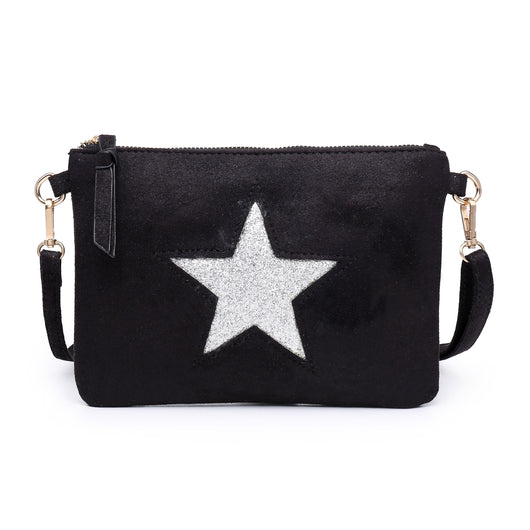 Black Clutch Bag With Sequin Star