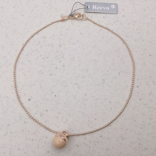 Pink And Rose Gold Bead Pendant Necklace