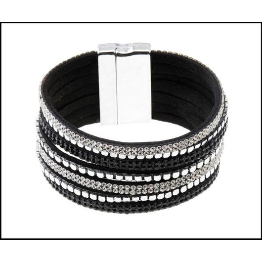 Black And Silver Suede Bracelet With Magnetic Clasp