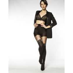 Black Mock Hold Ups With Lurex Garter Top By Andrea Bucci