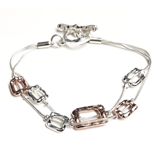 Rose Gold And Silver oblong Design Bracelet