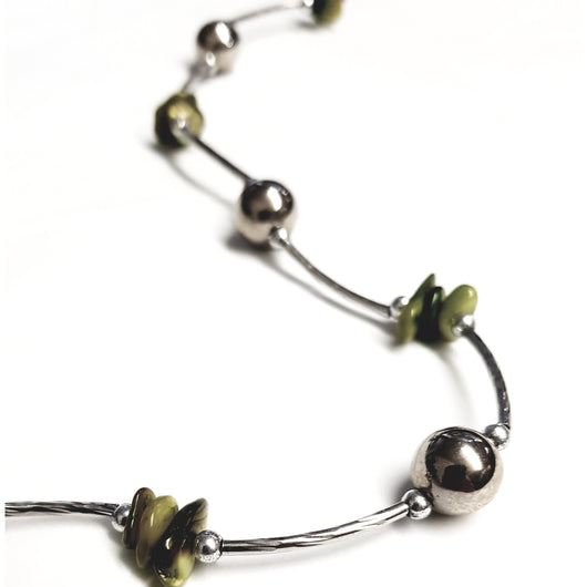 Green And Silver Tube Bead  Necklace