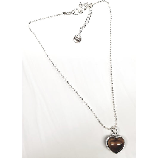 Silver And Smoke Resin Heart Pendant Necklace