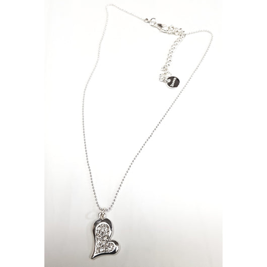 Silver And Crystal Heart Pendant Necklace
