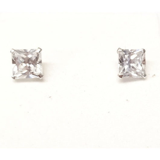 Silver 925 Square Crystal Stud earring