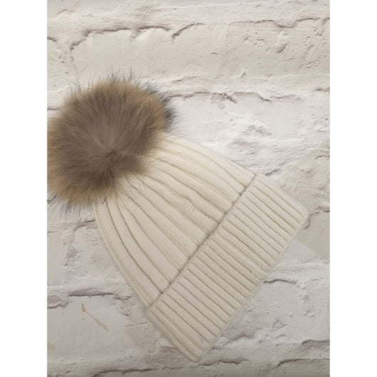 Grey  Beenie Hat With Fur Pom Pom