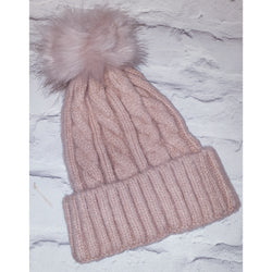 Pink Cable Knit Beenie Hat With Faux Fur Pom Pom
