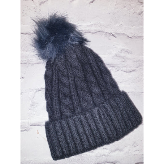 Grey  Cable Knit Beenie Hat With Faux Fur Pom Pom