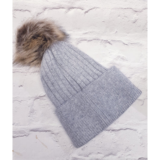 Cream Beenie Hat With Fur Pom Pom