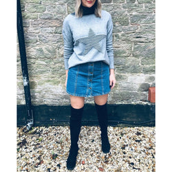 Grey Knitted Star Jumper  From The Made In Italy Collection