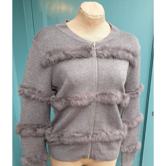 Grey Knitted Jacket With Faux Fur Detail