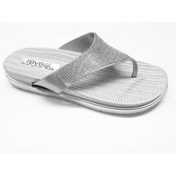 Silver Wedge Flip Flop Sandals With Crystal Detail