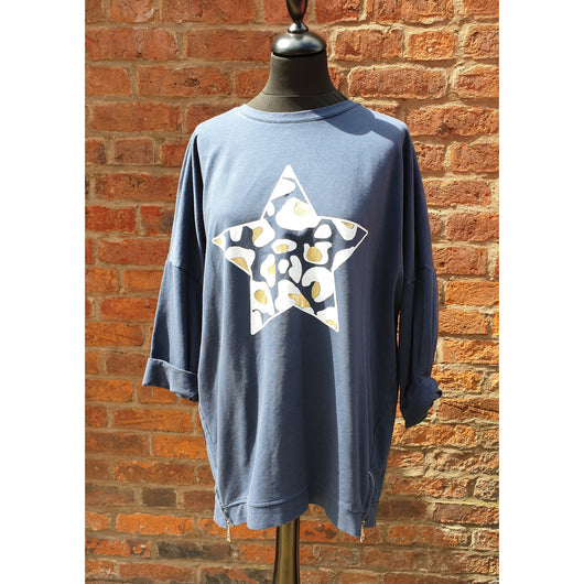 Navy  Leopard Print Star  Top