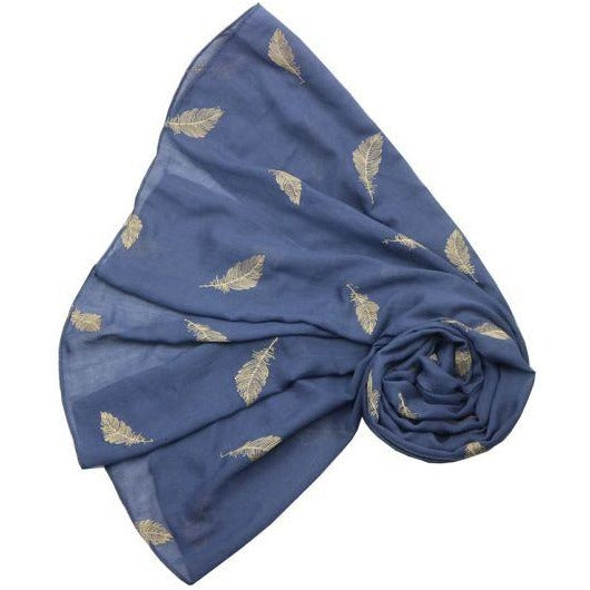 Navy Embroidered  Feather Scarf