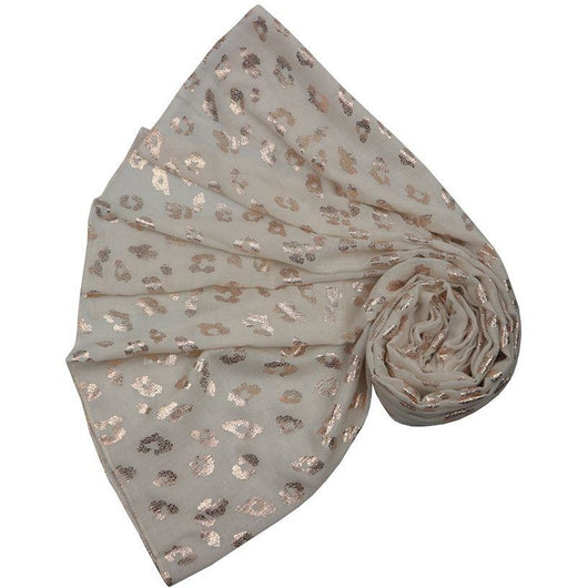 Cream Blush Foil Leopard Scarf
