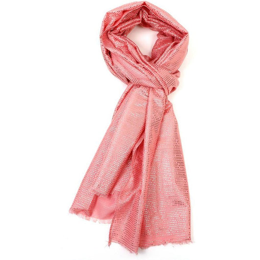 Coral scarf With Tiny Rose Gold Triangles