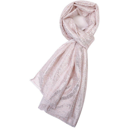 Cream Scarf With Tiny Rose Gold Triangle