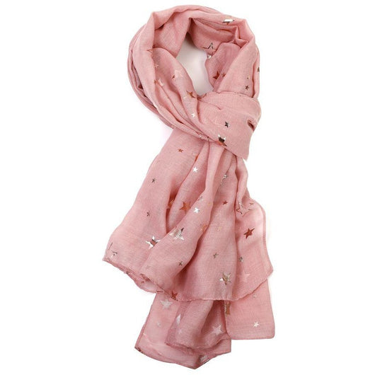 Blush Pink Scarf with Rose Gold Sketch Stars