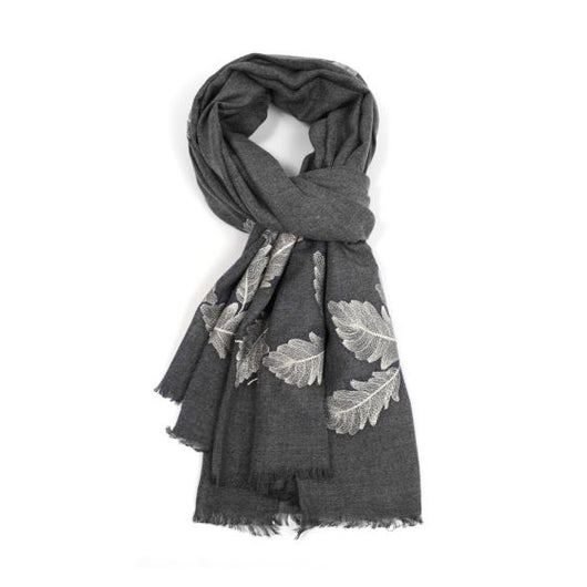 Grey Scarf With Embroidered Feathers