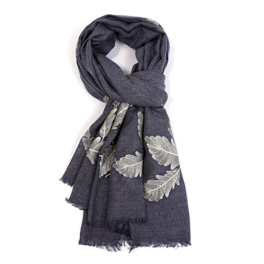 Denim Blue Scarf With Embroidered Feathers