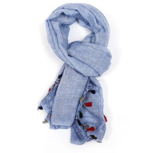 Denim Tassel Scarf