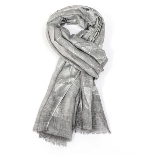 Grey scarf with silver foil leaf detail