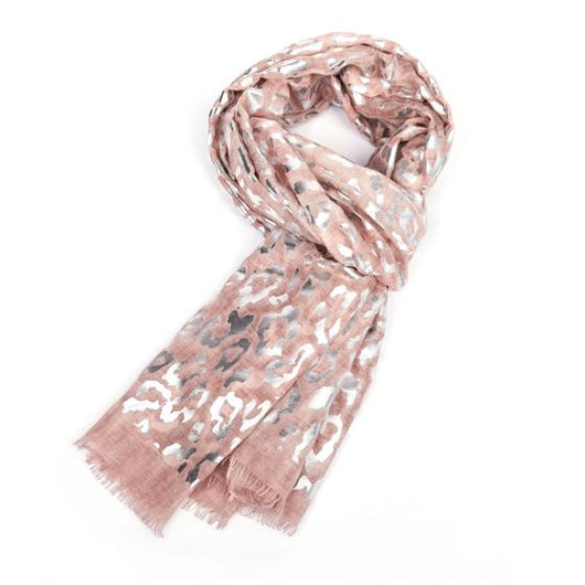 Blush Pink Scarf with Silver Leopard Print