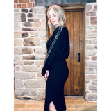 Black Ribbed Bat wing jumper With Pearl And Crystal Sleeve detail