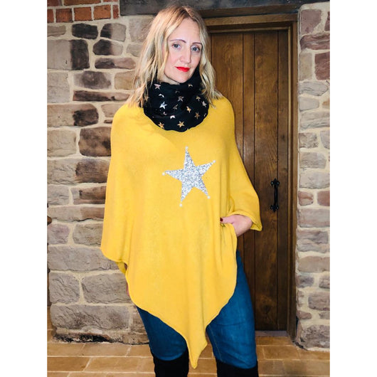 Mustard Knitted Poncho With Silver Star Embellishment