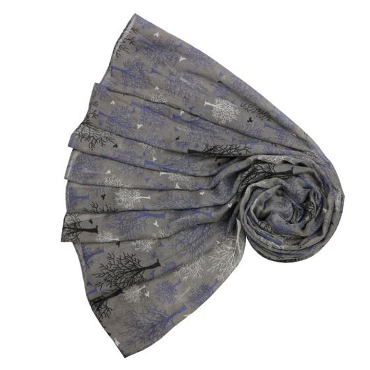 Grey Autumn Trees Scarf