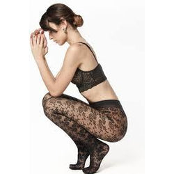 Black Luxury Floral Tights By Andrea Bucci