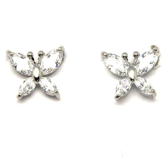 Silver Crystal Butterfly Earrings