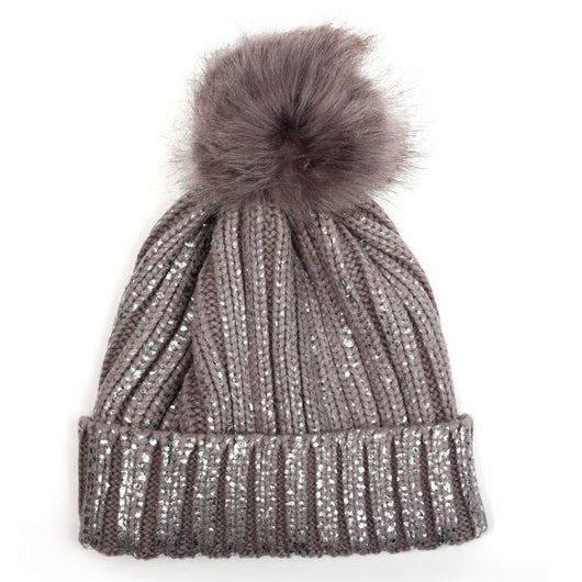 Grey And Silver Foil Bobble Hat