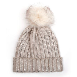 Cream And Gold Bobble Hat