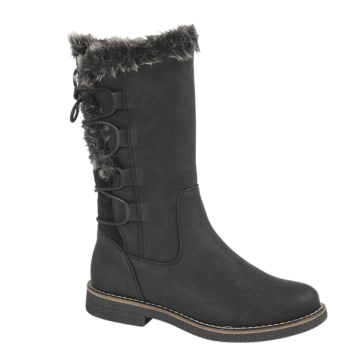 Black 3/4 Boot With Lace Up Back Detail