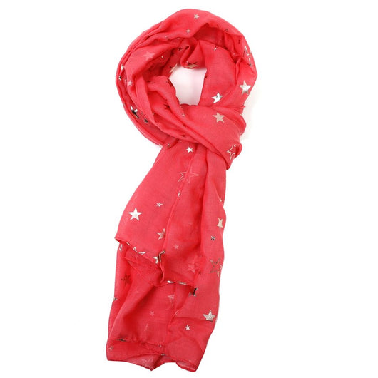 Coral Gold Sketch Star Scarf