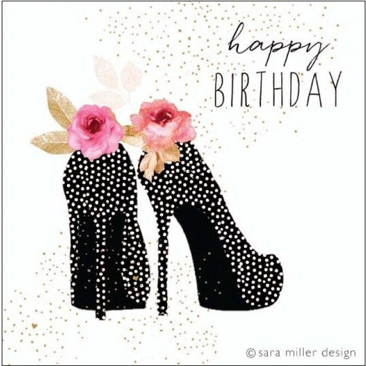 Sensational stilettos birthday card by jaz and baz