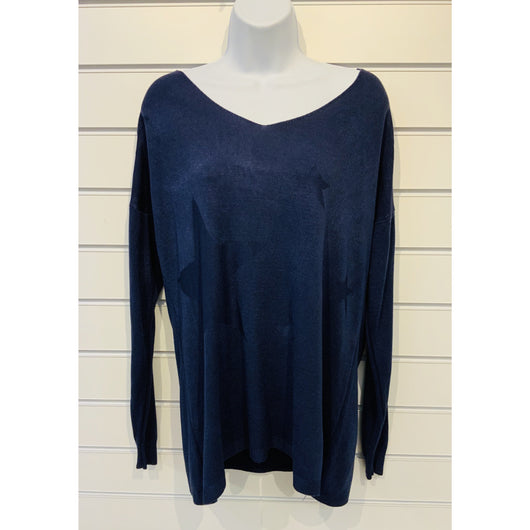 Navy Sparkle V Neck Three Star Jumper