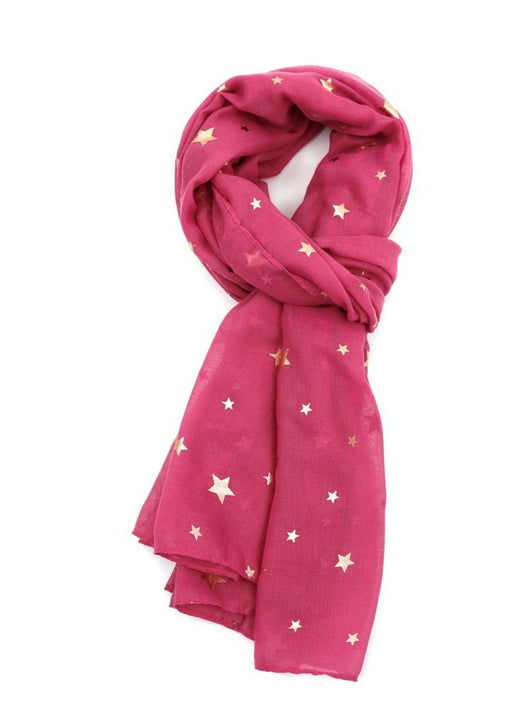 Hot pink gold star scarf