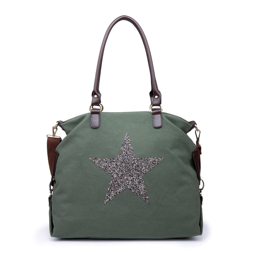 Large Khaki Canvas Star Tote Handbag