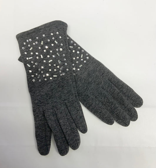 Grey Gloves With Jewel Detail