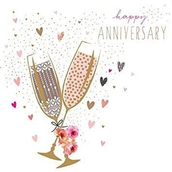 Jaz and baz anniversary champagne card