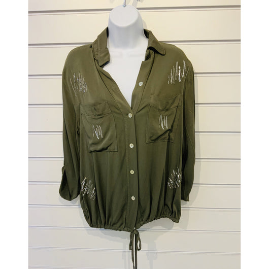 khaki Green Dressy Shirt With Sequin Detail