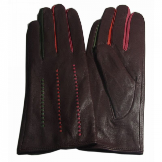 Brown leather gloves with colour insert detail