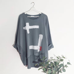 Grey scandi top with brush stroke design
