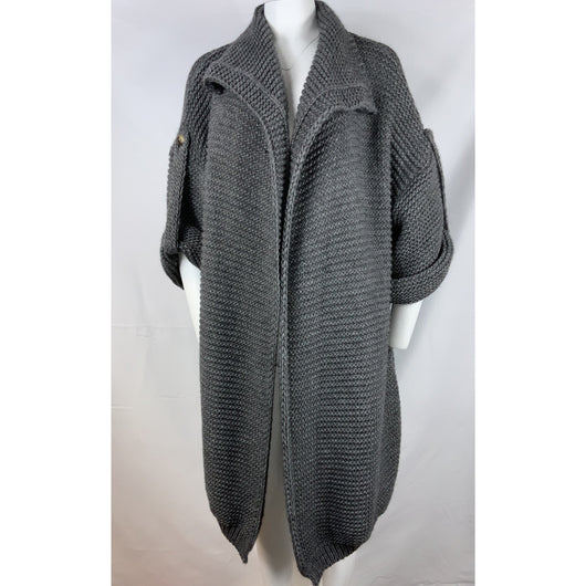 Grey Chunky Knit Cardi Coat
