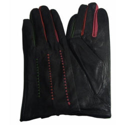 Black leather gloves with colour insert detail