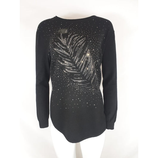 Black Fine Knit With Glitter Feather Detail